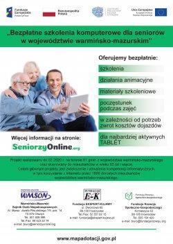Plakat projektu Bezpłatne szkolenia komputerowe dla seniorów w województwie warmińsko-mazurskim